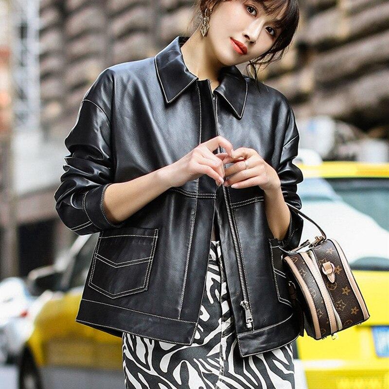 Kadın Giyim'ten Deri ve Süet'de Hakiki Koyun Derisi bayan Moda Siyah Ceketler Sonbahar Uzun Kollu Fermuar cep Ince Kısa Deri Mont Bayan Mont'da  Grup 1