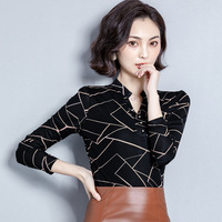 Early Autumn Blouses Thin Sweater 2019 New Style Fashion Korean style Autumn And Winter Shirt Long Sleeve Stripes Stand Collar B