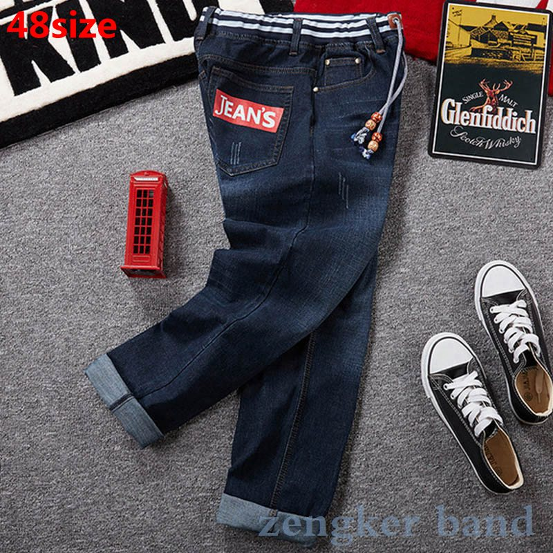 Plus Size Men's Jeans Spring Thin Section Elastic Waist Lace-up Stretch Slim Fit Straight Pants Oversized Jeans Men