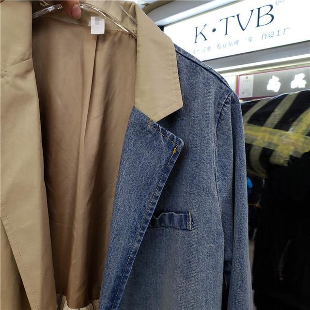 2020 Autumn New Korean Fashion Casual Denim Women Stitching Contrasting Color Suit Collar Mesh Long Coat