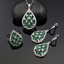 Серебро 925 Свадебные Ювелирные наборы для женщин зеленый кубический