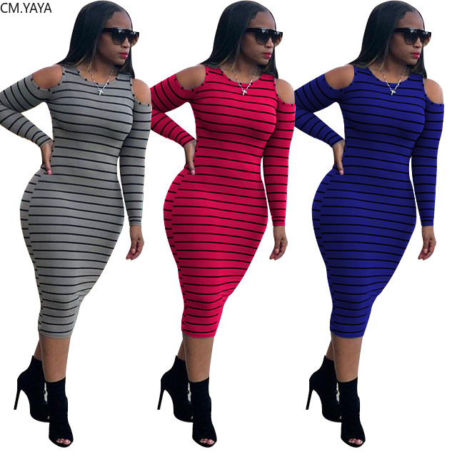 CM.YAYA Herbst Aktive Tragen Gestreiften Print Cut Out Langarm Oansatz Frauen Gestrickte Sport Bodycon Bleistift Midi Kleid Vestidos