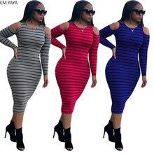 CM.YAYA – robe mi-longue à manches longues pour femme, vêtement actif, imprimé rayé, col rond, tricoté, sport, moulante, crayon, automne