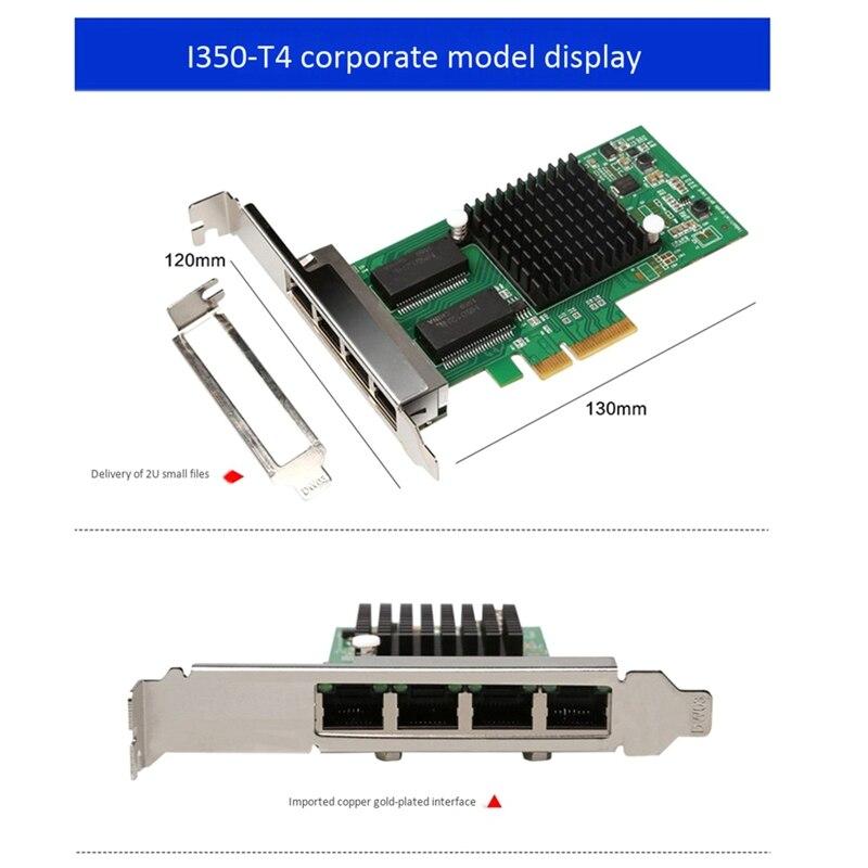portas gigabit i350 t4 placa de rede multiportas empresarial cartao preto 05