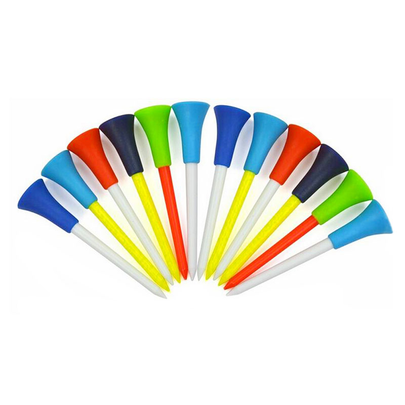 Hot 50pcs Golf Tools 83mm Plastic Golf Tees Rubber Cushion Professional Multicolor