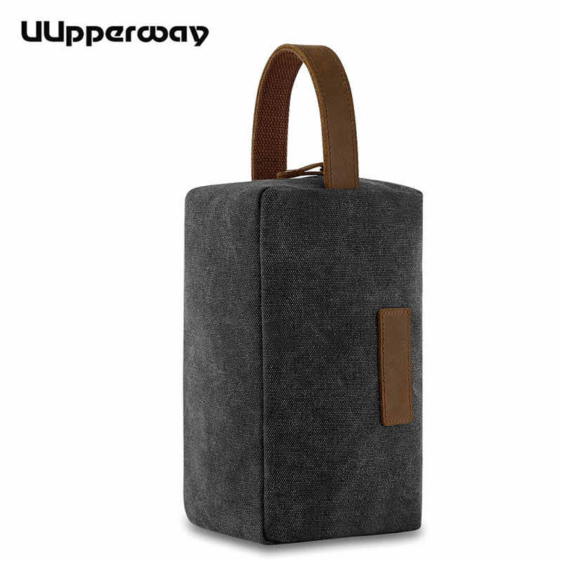 Vintage Casual Hand Bag Men's Small Bags Waterproof Canvas Day Clutch Bag Handbags with Leather Handle Women Makeup Money Purse