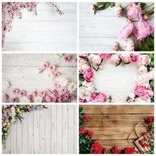 Laeacco יום הולדת יילוד תפאורות חתונה צילום לבן עץ לוח פרחי תינוק תמונה דיוקן רקעים שיחת וידאו אבזר