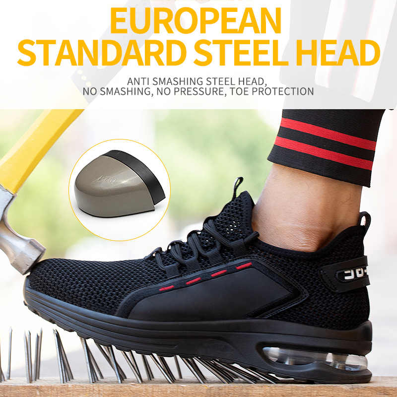 Women Work Safety Shoes Anti-puncture Steel Toe Cap Sneaker Breathable Trainers