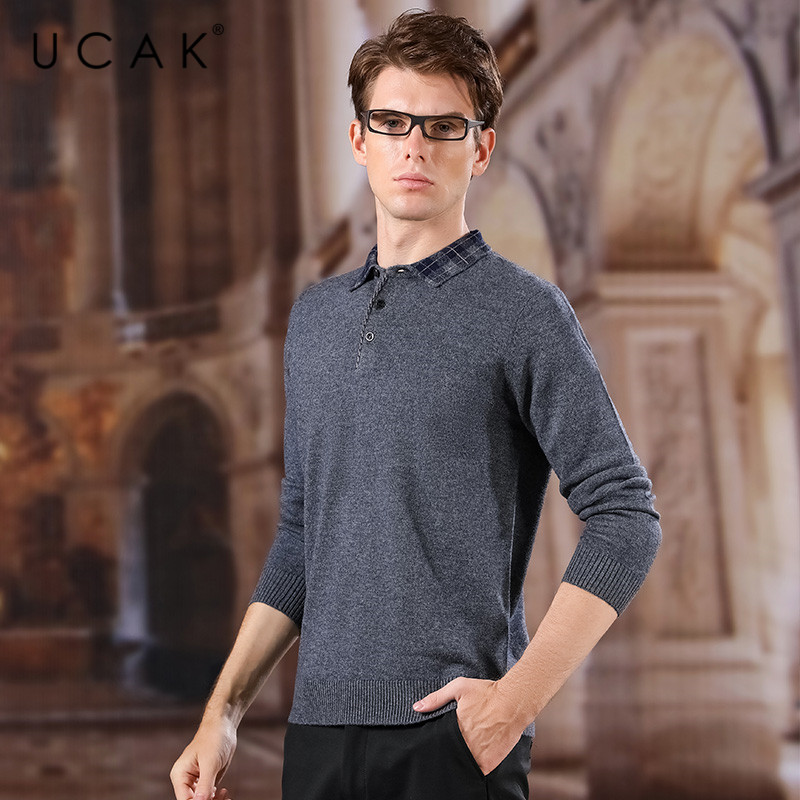UCAK Brand Pure Merino Wool Sweaters Men 2020 New Arrival Spring Autumn Casual Turn-down Collar Streetwear Solid Pullover U3153
