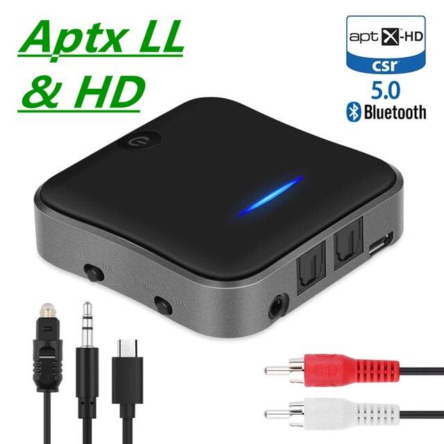 Bluetooth 5.0 משדר מקלט CSR8675 APTX HD LL Bt אודיו מוסיקה אלחוטי USB מתאם 3.5mm 3.5 שקע AUX/SPDIF/RCA עבור טלוויזיה מחשב