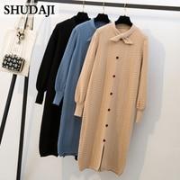 2019 Autumn Winter Large Size Women's Fat Mm Knitted Medium length Loose Age reducing Dress Bottom Long sleeve dress