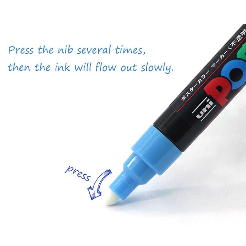 Image 3 - UNI POSCA marqueur stylo PC 1M PC 3M ensemble de PC 5M POP affiche publicité stylo peinture stylo bande dessinée peinture tête ronde Art de leau marqueurMarqueurs à dessin   -