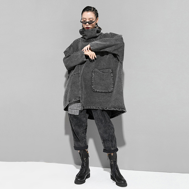 [EAM] Loose Fit Black Denim Oversized Sweatshirt New High Collar Long Sleeve Women Big Size Fashion Spring Autumn 2021 1K166 5