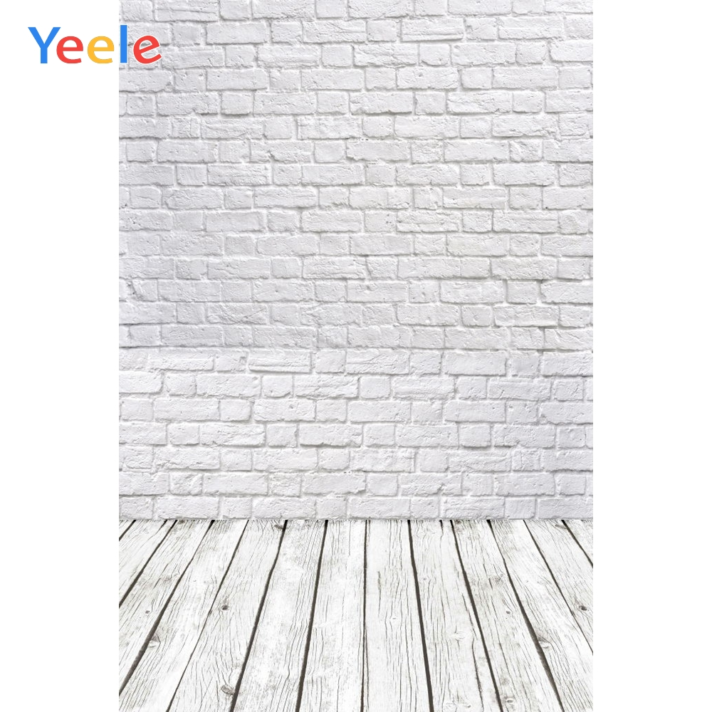 Photophone White Brick Wall Photography Backdrops Wooden Floor Backgrounds for Pet Toy Photo Studio Baby Shower Newborn Children