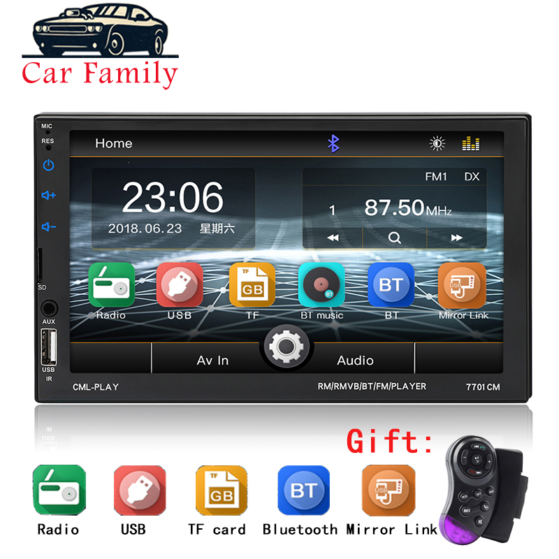 "2 Din 7/"" Touch Screen Handsfree Bluetooth Car Stereo Radio FM USB AUX MP5 Player"