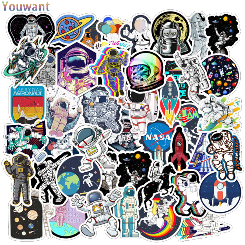 50 Pcs Cool Outer Space <font><b>Stickers</b></font> Alien <font><b>UFO</b></font> Astronaut Rocket <font><b>Sticker</b></font> For Laptop Motorcycle Fridge Luggage Backpack Decal <font><b>Stickers</b></font> image