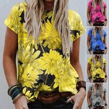 2021 été Nouveau Chrysanthème Imprimer Col Rond Manches Courtes Décontracté Ample Confortable T-shirt Haut