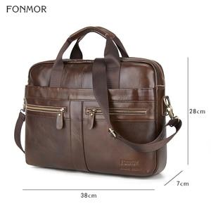 Image 2 - Fonmor Genuine Leather Briefcase Men Multilayer Laptop Bag Natural Cowhide Handbag For Man Messenger Shoulder Bags Crossbody Bag