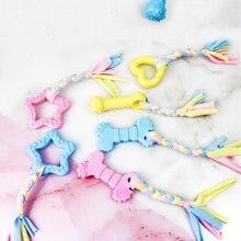 Хлопковая веревка с узлом жевательная игрушка для домашних животных