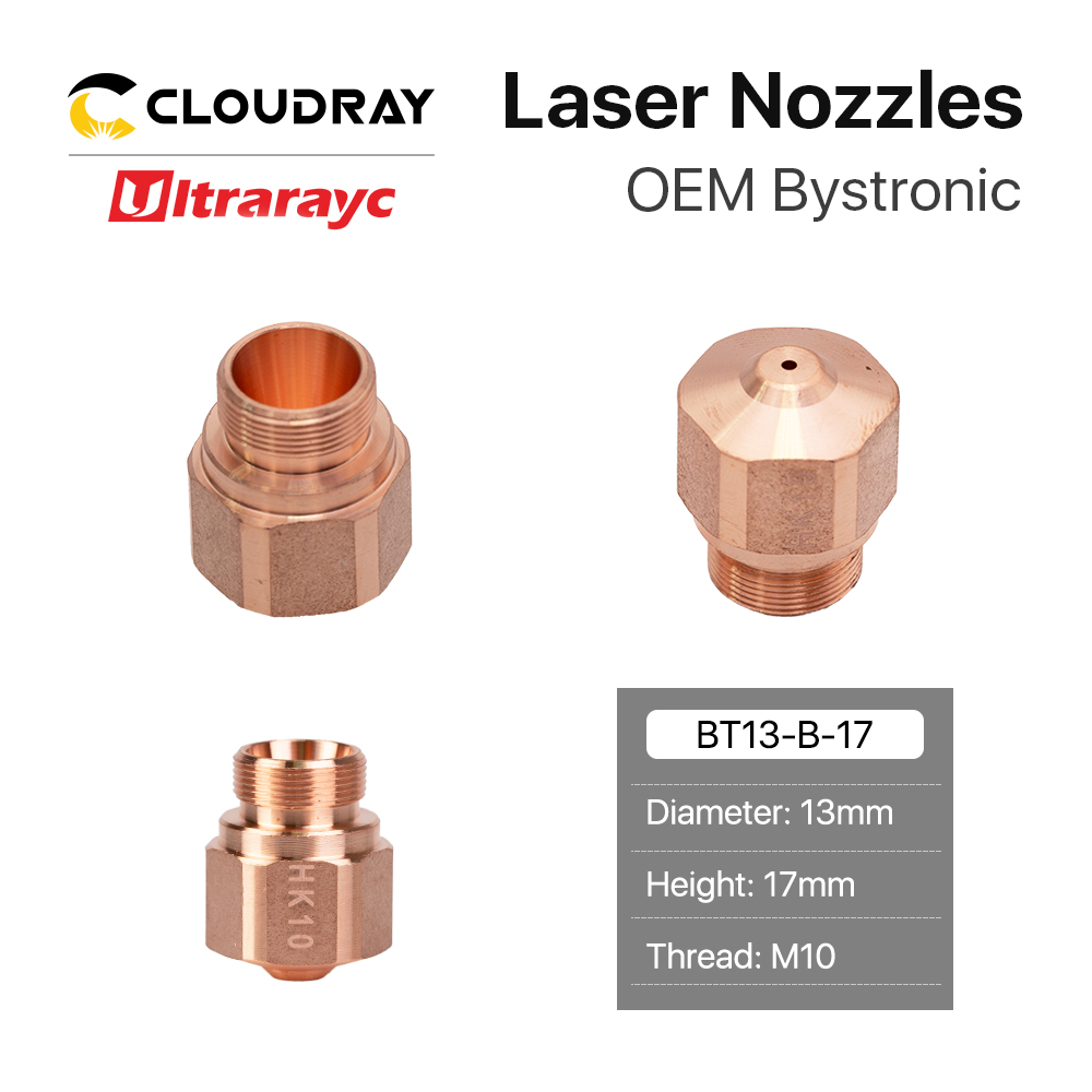 Ultrarayc OEM Bystronic HK Series Laser Nozzle Single Layer Caliber 0.8-4.0mm Thread M10 For Bystronic Fiber Laser Cutting Head