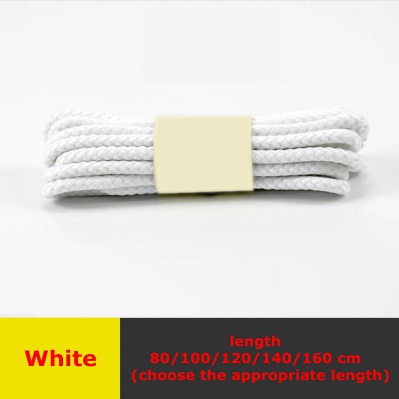 1 пара классические круглые шнурки Уличная обувь для прогулок на шнурках с белой высокой плотностью ткацкие кроссовки для отдыха шнурки унисекс - Цвет: Белый