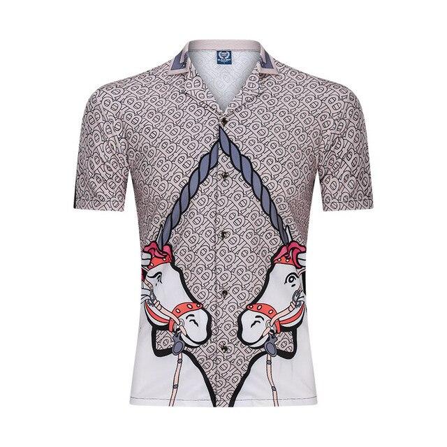 New 3D Men Beach Casual Shirt Printed Summer Short Sleeve Loose Streetwear Fashion Gym Sportwear Hip Hop Camisa Male Blouse 2020
