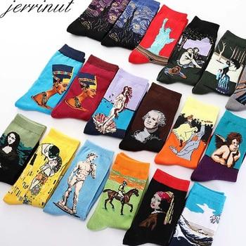 Jerrinut النساء مضحك الجوارب مع طباعة لطيف الفن الجوارب الدافئة شتاء سعيد الجوارب القطنية الرجال فان جوخ جورب طاقم الأزياء عارضة 1 زوج