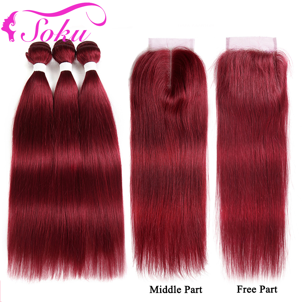 99J/Burgundy Bundles With Closure SOKU Brazilian Straight Human Hair Weave Bundles With Closure 3PCS Non-Remy Red Hair Bundles
