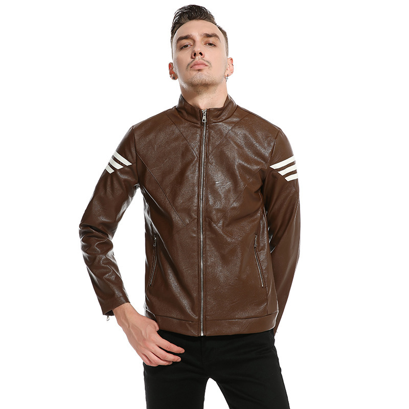 Outer Mold Photo Shoot New Style Men Stand Collar Leather Coat Korean-style Handsome Leather Coat Coat Py01