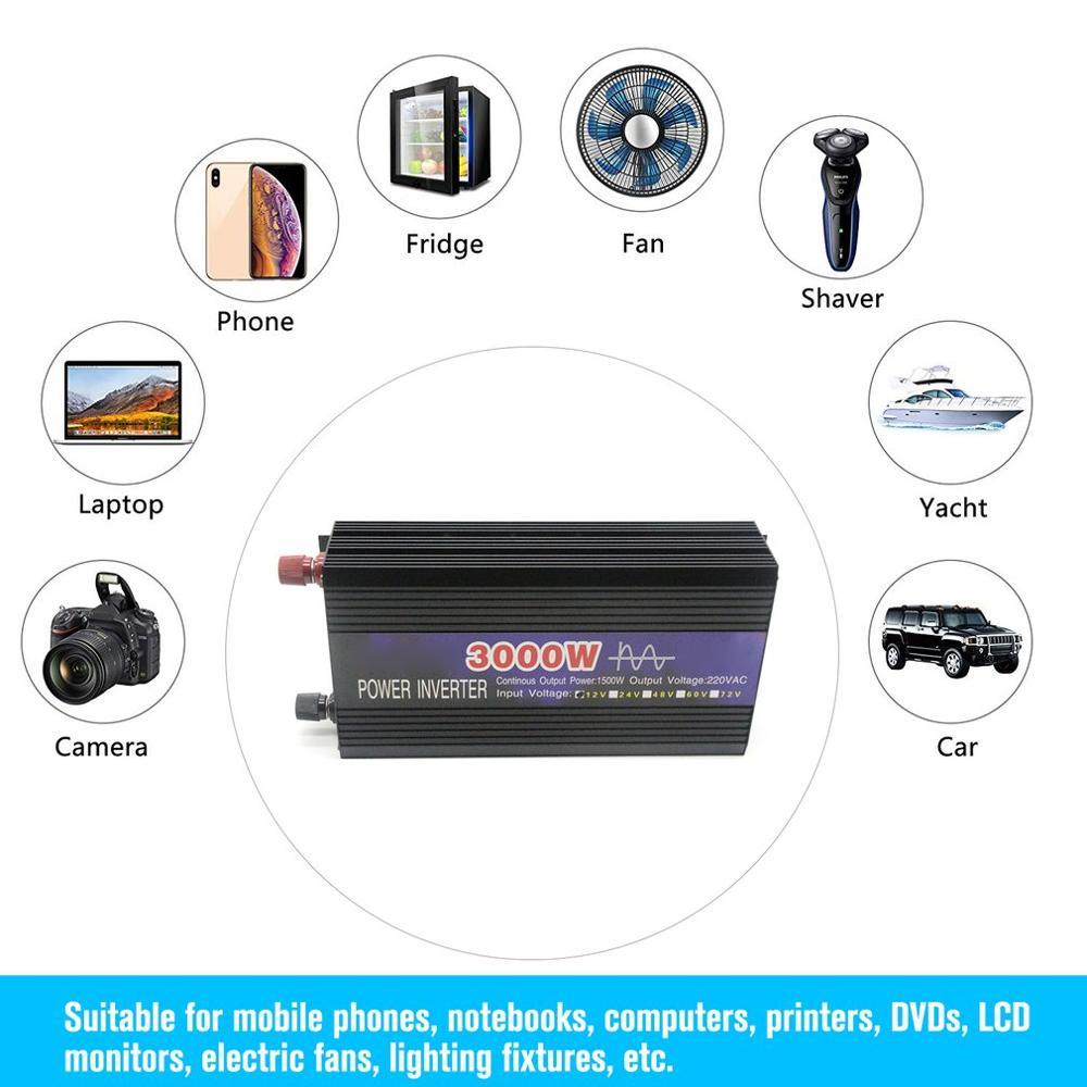 3000 w onda senoidal pura inteligente inversor de corda dupla display digital potência do inversor conversor carro adaptador com ventilador duplo - 2