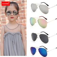 Lunettes de soleil classiques colorées pour filles et garçons, verres miroir, monture métallique pour enfants, lunettes de voyage et de Shopping, UV400, 1 pièce
