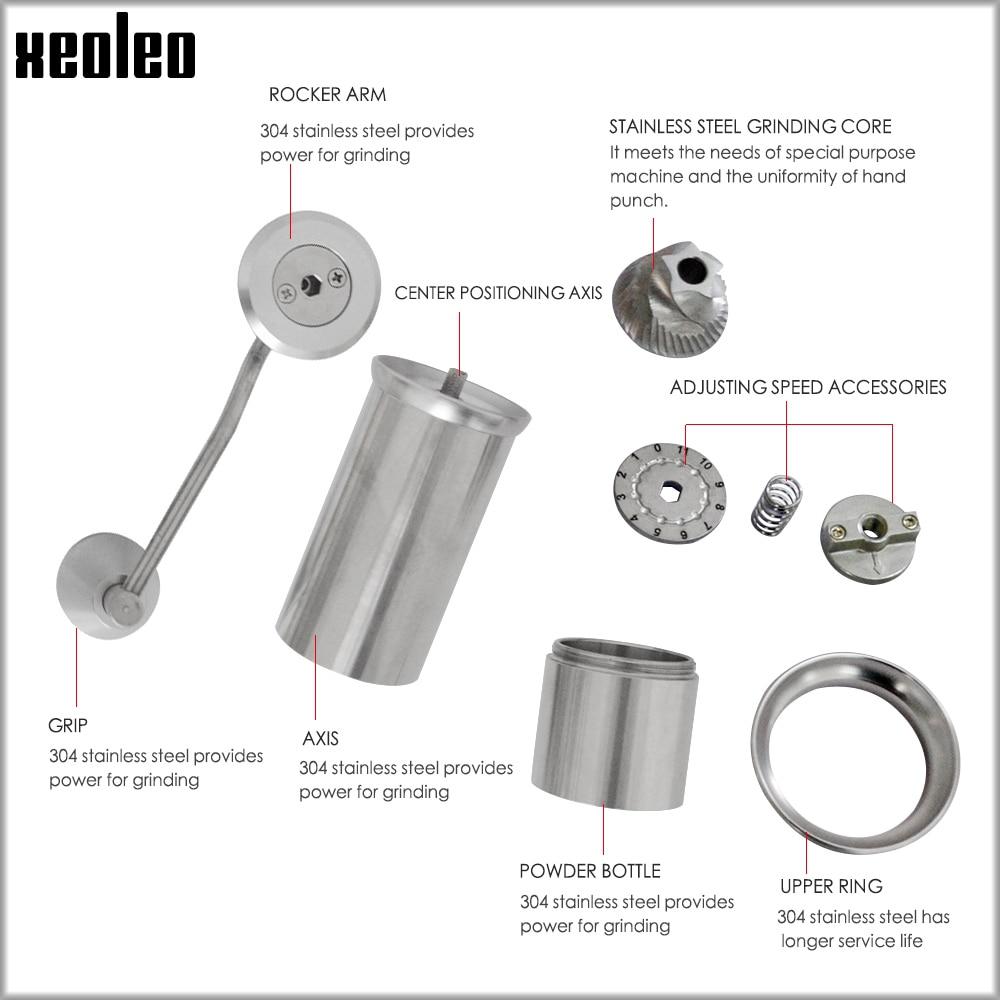 XEOLEO Manual Coffee grinder 45MM Aluminum Coffee miller Black/Brown/Silver/Gold 15g Mini Portable Coffee milling machine 4