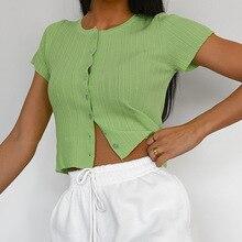 Summer Ladies Slim Fit Short sleeve Button T Shirt Sexy Tee