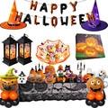 2020 Halloween Party DIY Dekorationen Happy halloween brief folie ballons kürbis servietten LED Hexe hut für Halloween party
