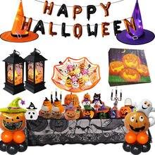 2020 impreza z okazji Halloween DIY dekoracje wesołego halloween balony foliowe w kształcie liter dyni serwetki LED kapelusz wiedźmy dla impreza z okazji Halloween