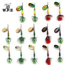 цена на W.P.E KOMODO 2pcs Spinner Lure 8.5g Brass Metal Spoon Fishing Lure Feather Treble Hook Bass Lure Hard Bait Fishing Tackle Pike