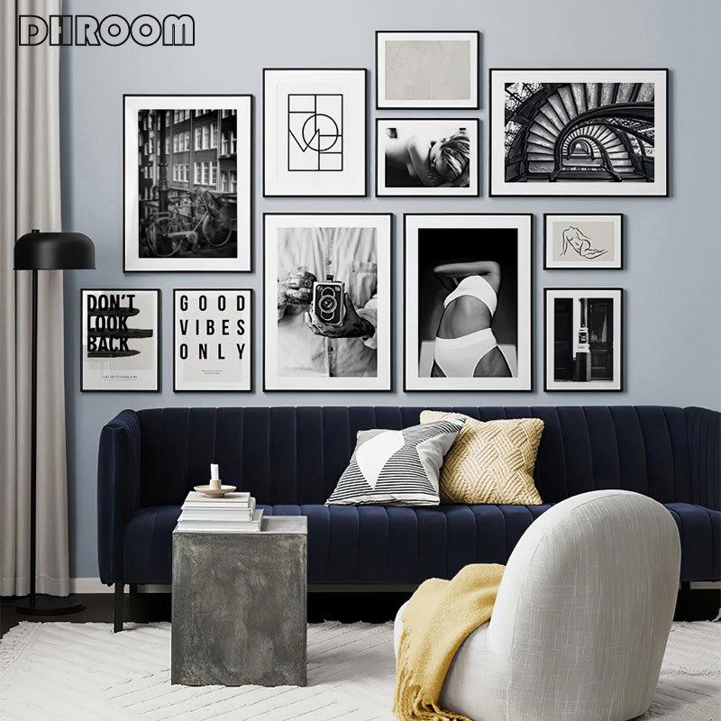 Siyah beyaz moda posteri sokak manzara baskı duvar sanatı soyut tuval boyama fotoğraf Modern odası dekorasyon resim