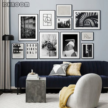 Black White Fashion Poster Street Landscape Print Wall Art Abstract Canvas Painting Photography Modern Room Decoration Picture
