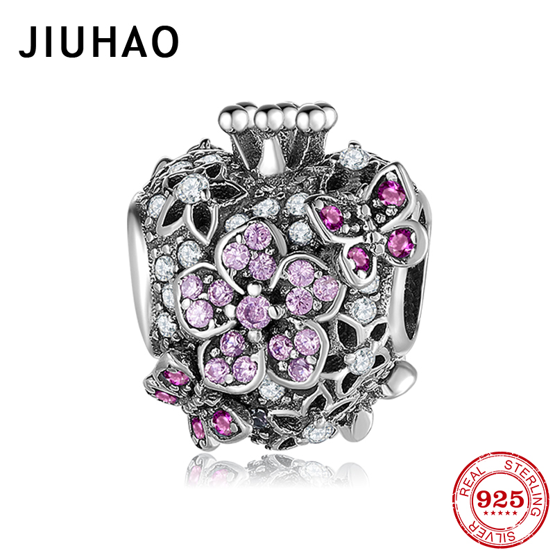 Authentic 925 Sterling Silver Wedding Flower With Butterfly Primrose Beads Fit Original Pandora Charms Bracelet Women Jewelry