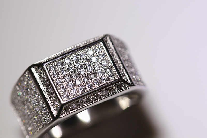 S925 เงิน 2 กะรัต VVS1 แหวนเพชรสำหรับชาย Bizuteria Anillo Topaz อัญมณี Dainty วงกลมเงิน 925 เครื่องประดับแหวนกล่อง