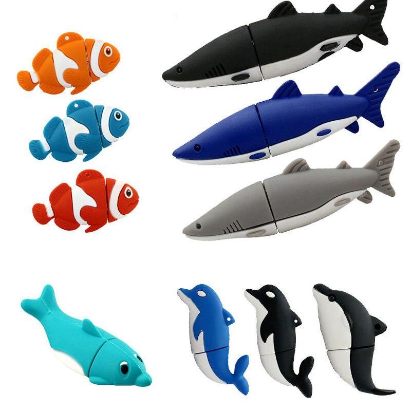 Cartoon Dolphin USB Flash Drive 4GB 8GB Animal 16GB PenDrive USB 2.0 Flash Shark Fish Memory Stick U Disk Flash Drive Pen Drive