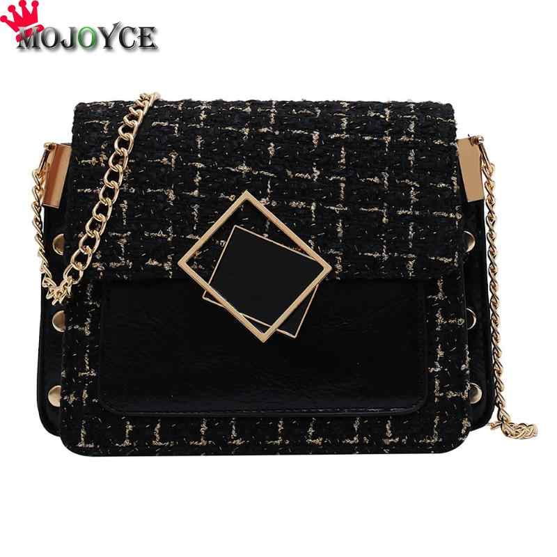 Hot Sale Handbags Classic Delicate Hit Color Fashion Woolen Messenger Bags Women PU Leather Winter Autumn Shoulder Handbag