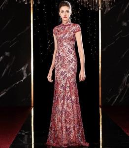 Image 4 - J20113 jancember エレガントなイブニングドレスロング 2020 イリュージョンハイネック半袖アップリケピンクパーティードレス платье длинное