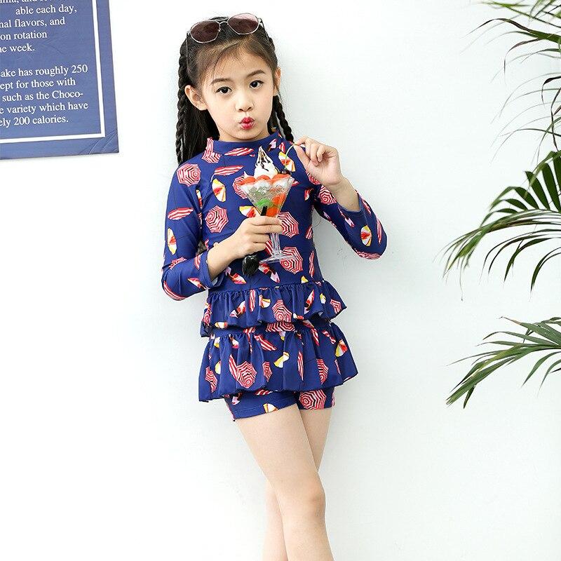 Girl'S Swimsuit Children Baby Cute Princess Dress-Split Type Long Sleeve Sun-resistant Warm Quick-Dry Swimming Suit