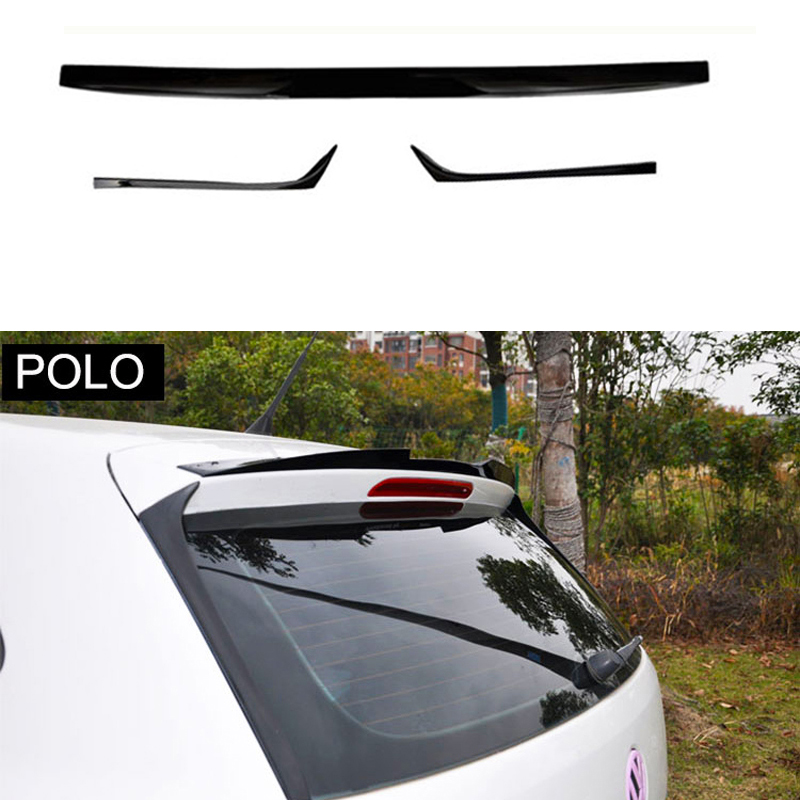 3Pcs Car Styling Plástico ABS Gloss Black Traseiro Trunk Lip Spoiler Asa Para Volkswagen VW Polo 2010- 2016