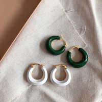 SRCOI Vintage Irregular C Shape Circle Dripping Oil Metal Geometric Hoop Earrings White Green Color Enamel Earrings For Women