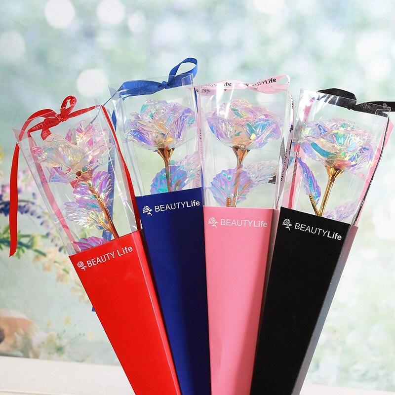 Красивая пластиковая искусственная Роза, 24 K, Золотая фольга, цветок розы, искусственный цветок, Подарочная коробка, изысканная новинка, День святого Валентина