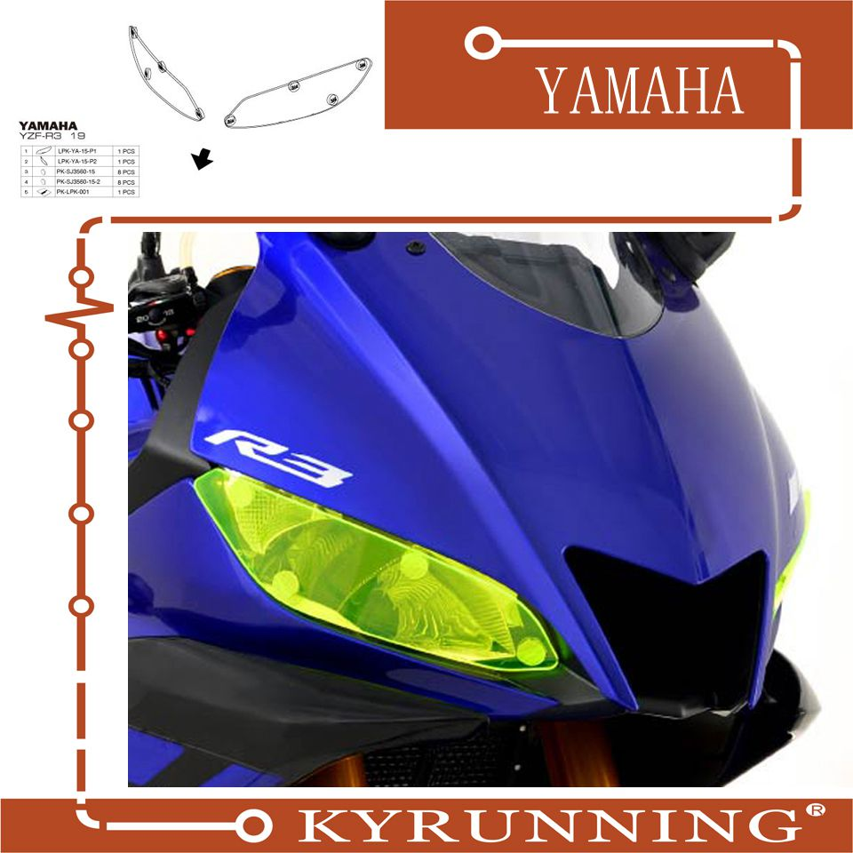 Teng Worship FOR <font><b>YAMAHA</b></font> YZF R3 YZF <font><b>R25</b></font> YZF-R3 YZF-<font><b>R25</b></font> R 3 R 25 <font><b>2019</b></font> motorcycle Headlight Protector Cover Shield Screen Len image