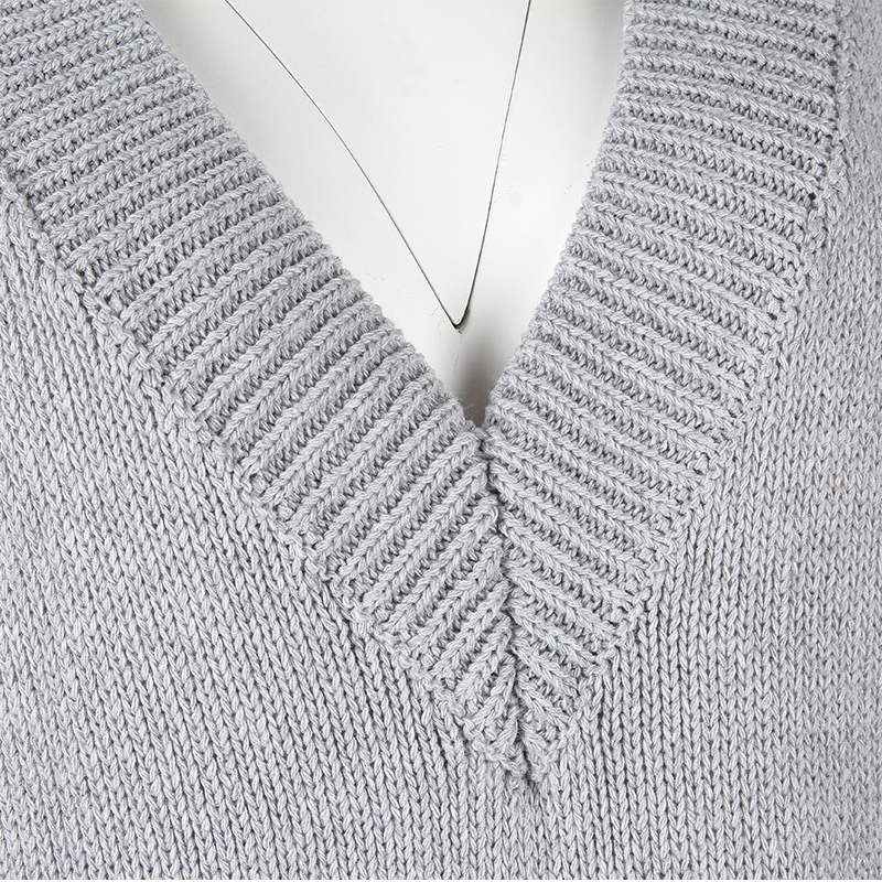 Image 5 - Ciepłe szare sukienki swetrowe damskie Oversize bez rękawów Casual luźny, dzianinowy strój damski odzież do pracy biurowej długa sukienka Longue w Suknie od Odzież damska na