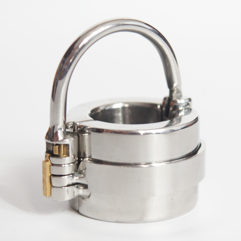 Male Chastity Scrotal Bound Ring Locking Device Stainless Steel Ball Stretcher Penis Ring Cock Ring <font><b>CBT</b></font> <font><b>Sex</b></font> <font><b>Toys</b></font> For Men image
